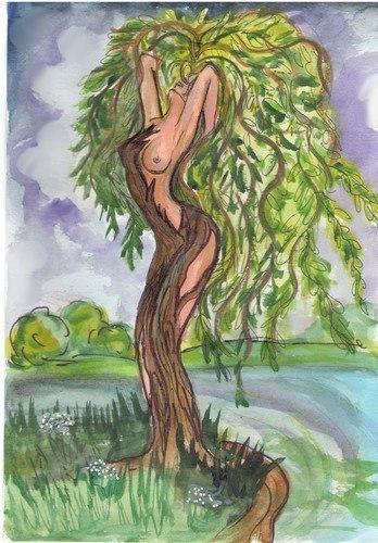 Смешной рисунок ива